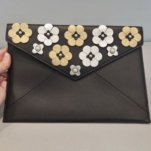 Gold and Silver Floral Clutch